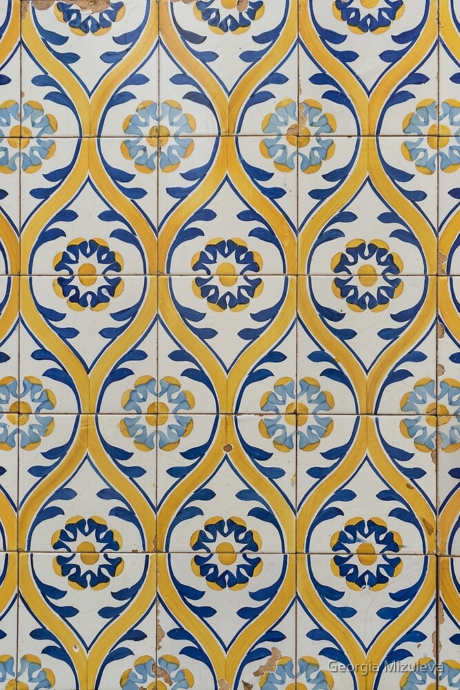 Painted Patterns - Azulejo Tiles in Blue and Yellow by Georgia Mizuleva