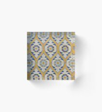 Painted Patterns - Azulejo Tiles in Blue and Yellow Acrylic Block