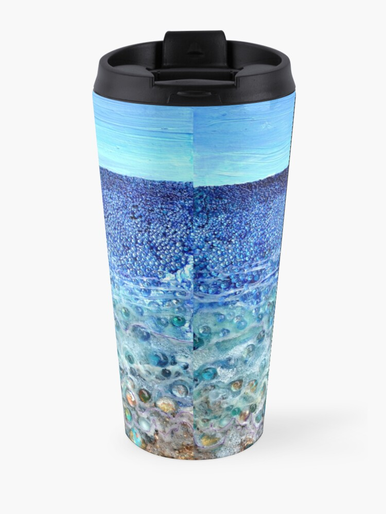 Alternate view of Rough Sands, acrylic and glass with mixed media on sealed wood panel Travel Mug