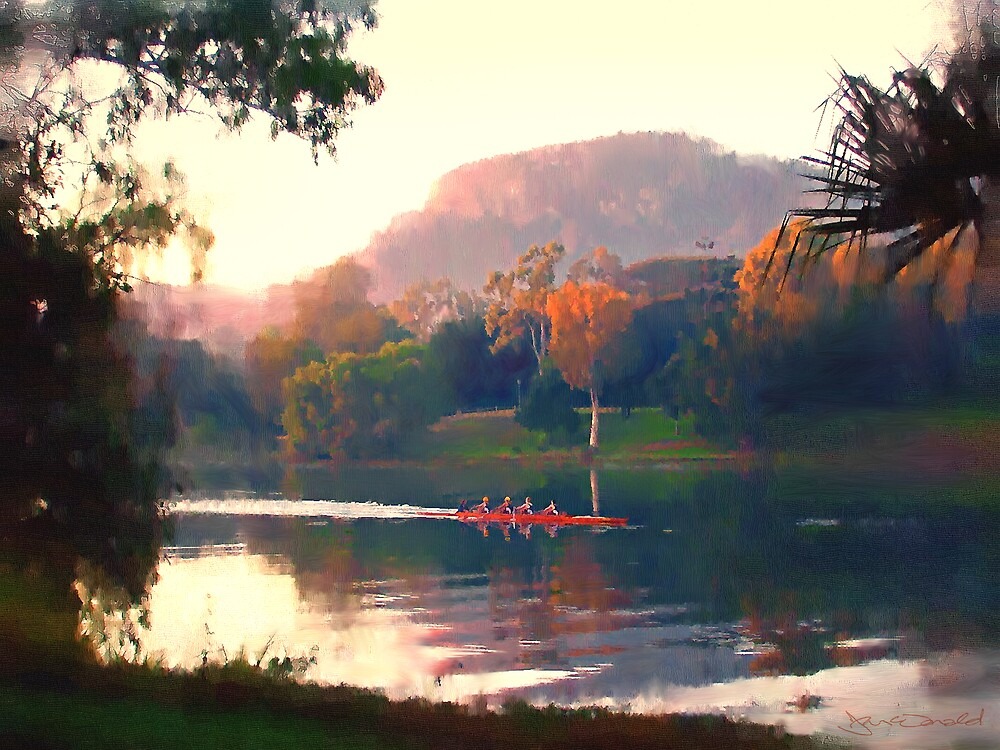Autumn Rowers, Ross River. by Frank  McDonald