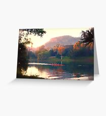 Autumn Rowers, Ross River. Greeting Card