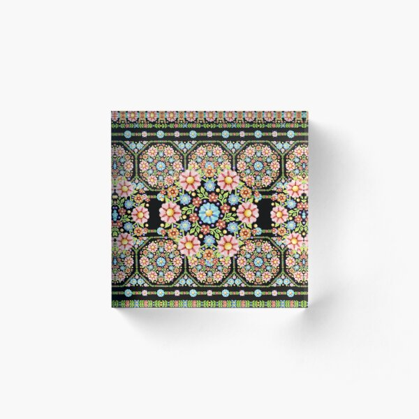 Millefiori Rosette Acrylic Block