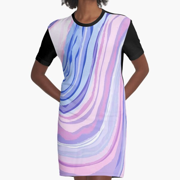 Purple Marble Graphic T-Shirt Dress
