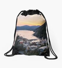 Vernazza, Italy overlook sunset Drawstring Bag