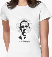 H.P. Lovecraft with Sigil Of The Gateway Women's Fitted T-Shirt