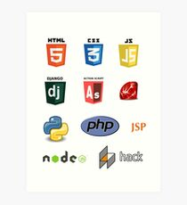web developer programming language set Art Print