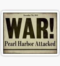 Pearl Harbor Attacked Newspaper Sticker