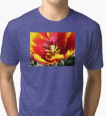 Red and Yellow Tulip Tri-blend T-Shirt