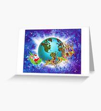 """Global Santa"" - Vintage Christmas Card, Sleigh, Presents, 8 Tiny, Reindeer, Globe, Trotting, World,Teal, Blue, Ocean, Aqua, Green, Retro, Red, Santa, Nick, Happy, Holiday, Holidays, Xmas Greeting Card"