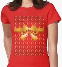 Golden bow Womens Fitted T-Shirt