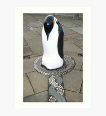 Penguin nesting on mosaic Art Print