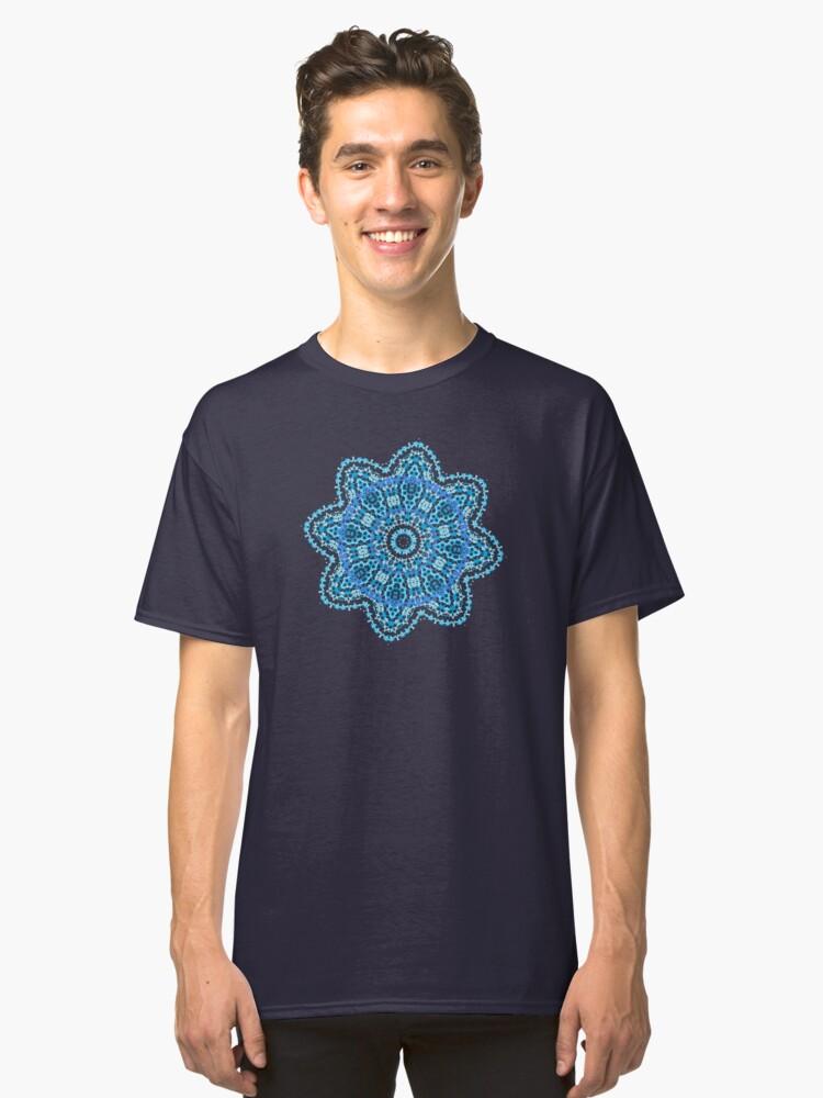 Mandala - light blue flower burst Classic T-Shirt Front