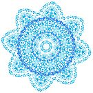 Mandala - light blue flower burst by jitterfly