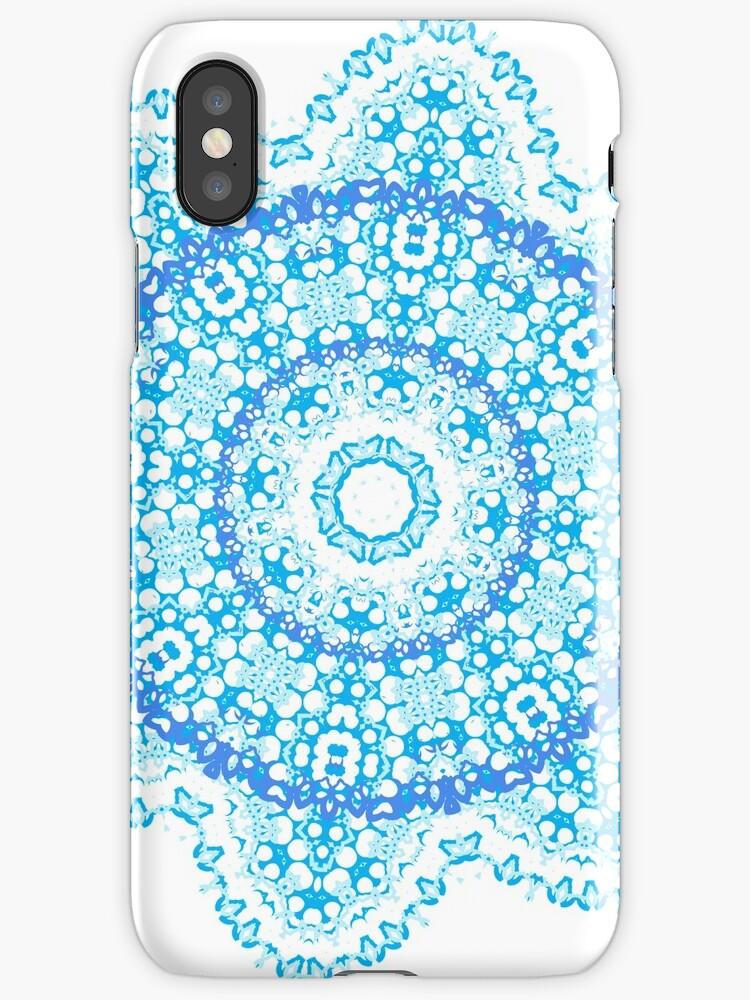 Mandala - light blue flower burst by jitterfly