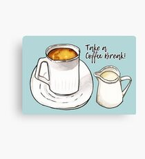 Coffee Break Watercolor and Ink Illustration  Canvas Print