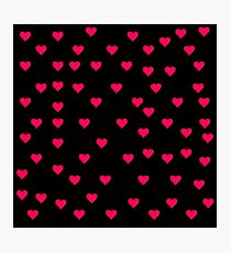 Red Hearts on black Photographic Print