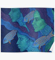 The Waiting, mermaids & fish, underwater fantasy Poster
