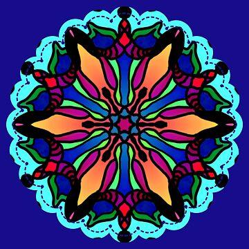 Sunburst Star Flower Pattern by BHDigitalArt