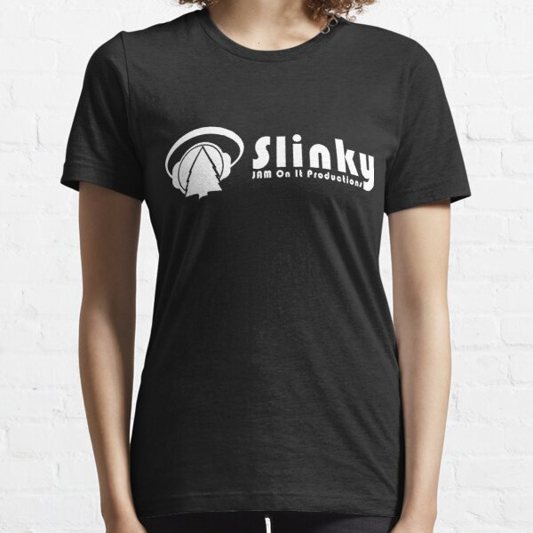 WHITE-Slinky Banner Logo and Font Essential T-Shirt