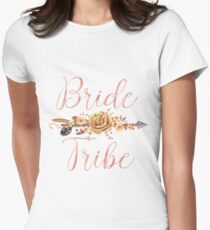 Bride Tribe Rose Gold Floral Arrow T-Shirt