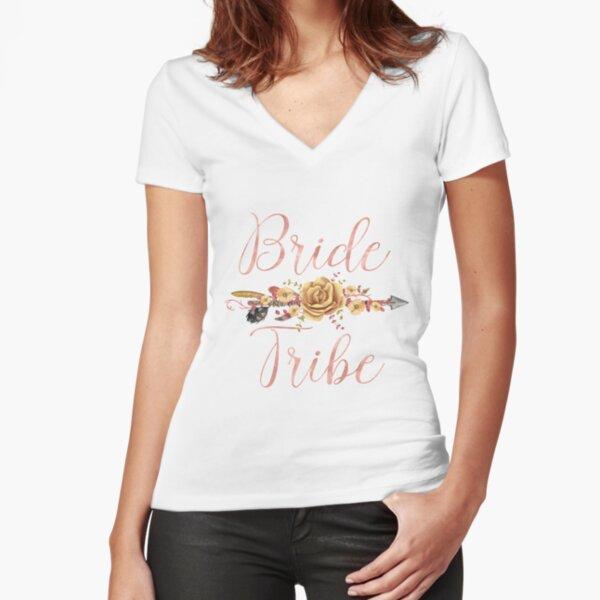 Bride Tribe Rose Gold Floral Arrow Fitted V-Neck T-Shirt