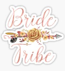 Bride Tribe Rose Gold Floral Arrow Sticker