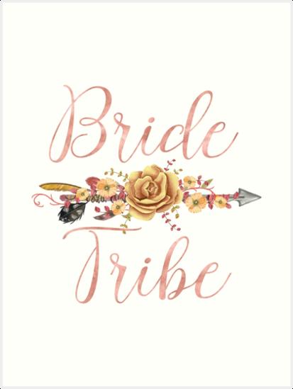 bride tribe rose gold floral arrow art prints by mollysky redbubble