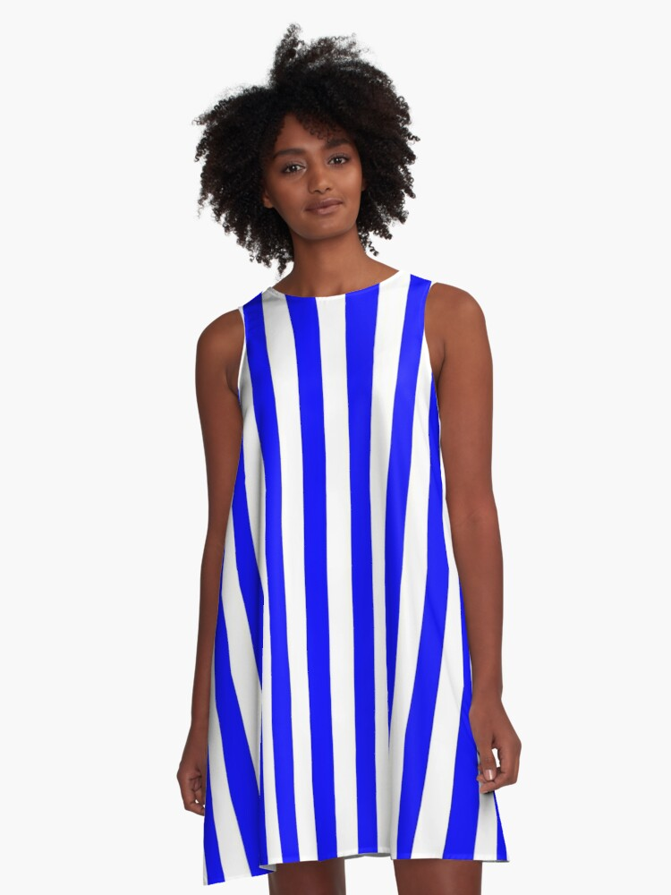 24dff3ad689 Large Royal Blue Stripe and White Vertical Cabana Tent Stripes A-Line Dress