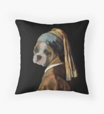 Bulldog Vermeer Throw Pillow