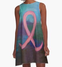 Supportive Pink Breast Cancer Awareness Ribbon on Jewel Tone Background A-Line Dress