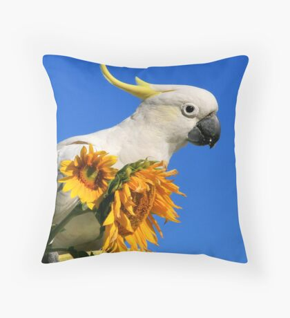 Sulphur Crested Cockatoo and Sunflowers Throw Pillow