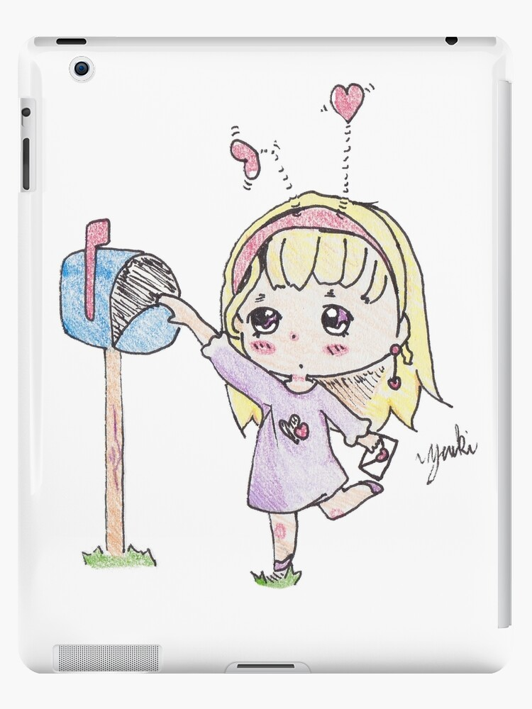 Cute chibi girl delivering a valentine to the mail box by GailYukino