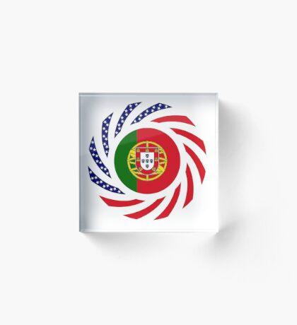 Portuguese American Multinational Patriot Flag Series Acrylic Block