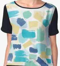 Colorful Brush Strokes Pattern Women's Chiffon Top
