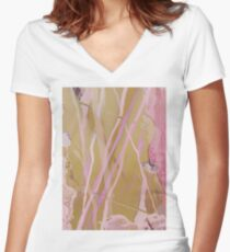 Pink Ripples Women's Fitted V-Neck T-Shirt