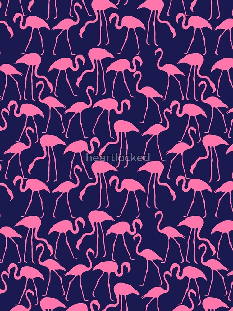 Pink and Navy Flamingo Print by heartlocked