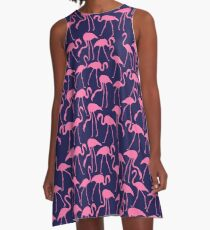 Pink and Navy Flamingo Print A-Line Dress