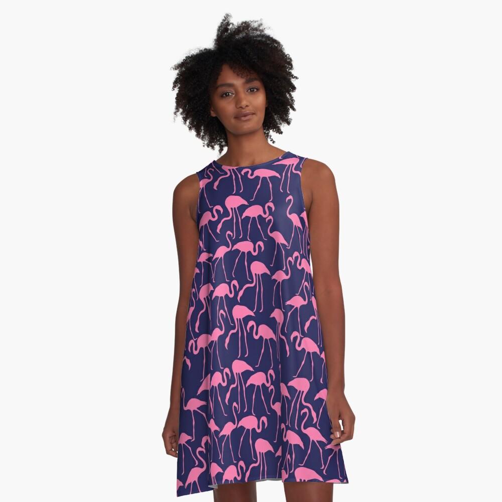 Rosa und Marine Flamingo Print A-Linien Kleid