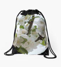 White Blossoms Drawstring Bag