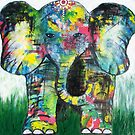Patience - Elephant, Acrylic on Canvas by AlisonJoy