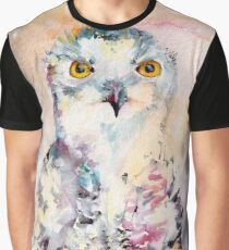 Snow Owl Watercolor Art Graphic T-Shirt