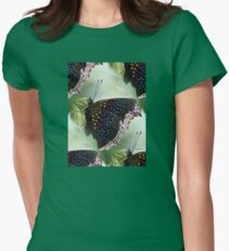 JEWELED BUTTERFLY BASKING ON A BRANCH Womens Fitted T-Shirt
