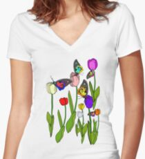 Floral Butterflies Women's Fitted V-Neck T-Shirt