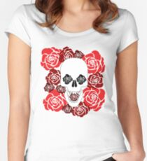 Flower Skull Women's Fitted Scoop T-Shirt