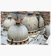 Round towers on the roofs at San Marco in Venice  Poster