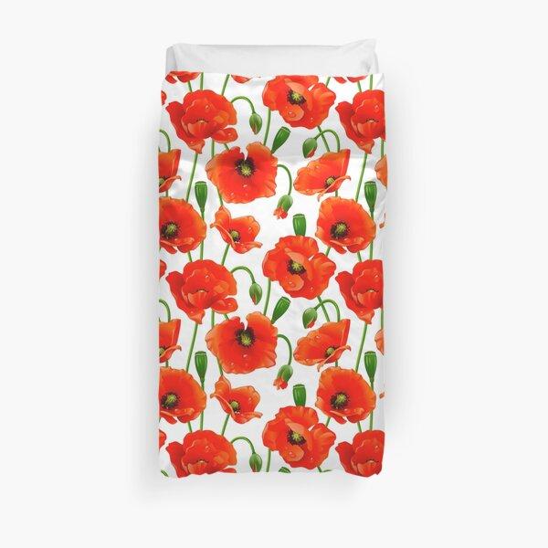 Beautiful Red Poppy Flowers Duvet Cover