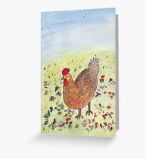 Egg laying Hen Greeting Card