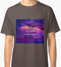 """Shoot for the moon. Even if you miss, you'll land among stars!"" - Les Brown [pink] Classic T-Shirt"