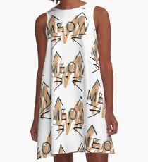 Multi-Colored Meow Kitty A-Line Dress