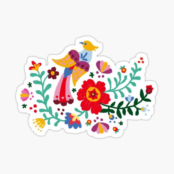 PAINTED MEXICAN FLORAL EMBROIDERY  Sticker